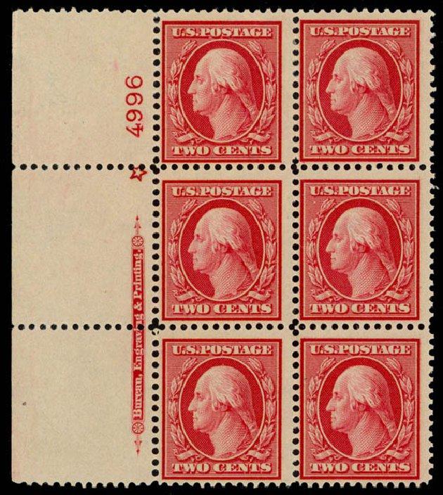 US Stamp Value Scott Cat. #358: 1909 2c Washington Bluish Paper. Daniel Kelleher Auctions, Sep 2014, Sale 655, Lot 652