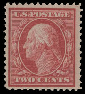 Cost of US Stamps Scott Cat. #358: 1909 2c Washington Bluish Paper. Daniel Kelleher Auctions, Aug 2015, Sale 672, Lot 2663