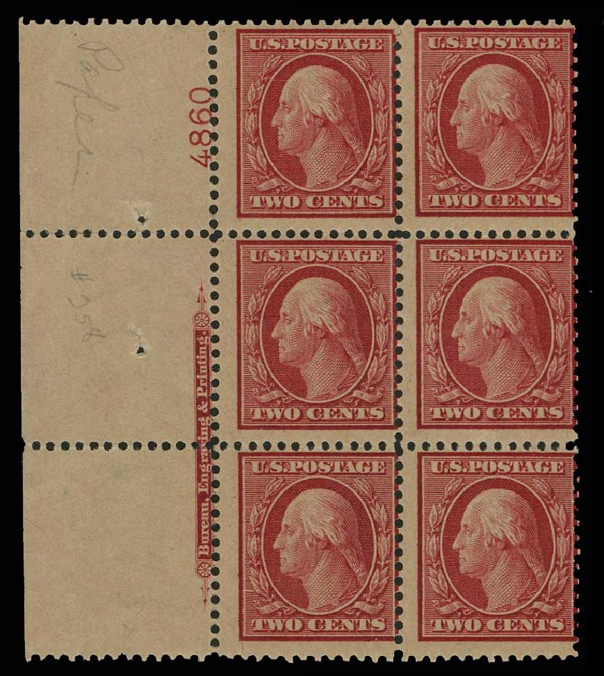 Prices of US Stamps Scott Catalog 358: 2c 1909 Washington Bluish Paper. H.R. Harmer, May 2014, Sale 3005, Lot 1256