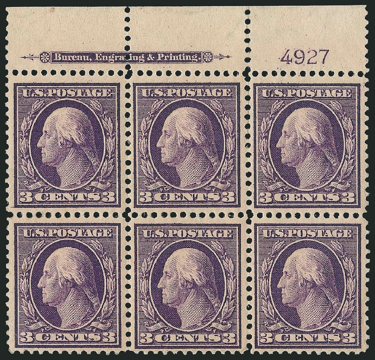 Values of US Stamp Scott # 359: 1909 3c Washington Bluish Paper. Robert Siegel Auction Galleries, Apr 2015, Sale 1096, Lot 604