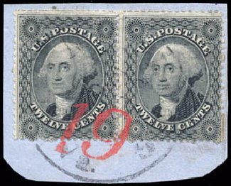 Cost of US Stamps Scott Cat. 36: 12c 1857 Washington. Schuyler J. Rumsey Philatelic Auctions, Apr 2015, Sale 60, Lot 1987