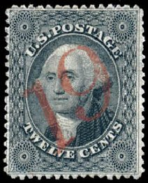 US Stamps Values Scott Cat. #36: 12c 1857 Washington. Schuyler J. Rumsey Philatelic Auctions, Apr 2015, Sale 60, Lot 1986