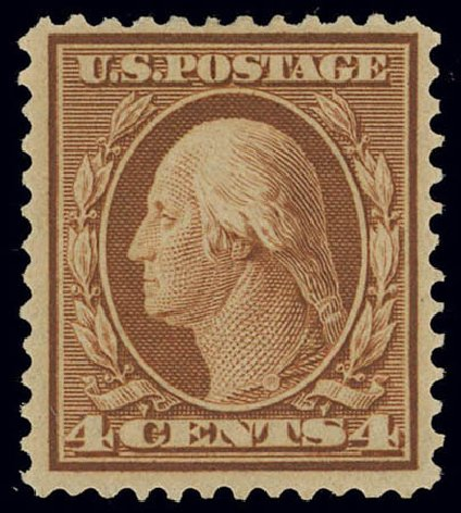 Value of US Stamp Scott Catalog 360 - 4c 1909 Washington Bluish Paper. Daniel Kelleher Auctions, Feb 2013, Sale 634, Lot 228