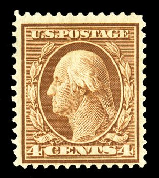 US Stamp Prices Scott Catalogue 360 - 4c 1909 Washington Bluish Paper. Cherrystone Auctions, Jul 2015, Sale 201507, Lot 2129