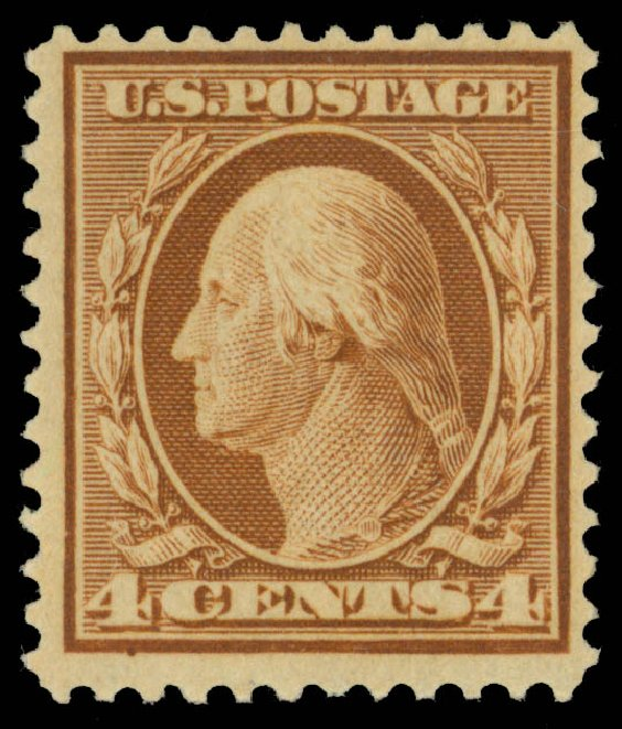 US Stamp Prices Scott Catalog 360: 1909 4c Washington Bluish Paper. Daniel Kelleher Auctions, Dec 2013, Sale 640, Lot 330