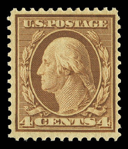 Value of US Stamp Scott Catalog #360 - 4c 1909 Washington Bluish Paper. Matthew Bennett International, Sep 2012, Sale 345, Lot 331