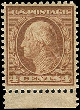 US Stamps Value Scott Catalog 360: 1909 4c Washington Bluish Paper. Regency-Superior, Aug 2015, Sale 112, Lot 746