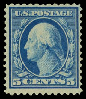 US Stamp Values Scott #361 - 1909 5c Washington Bluish Paper. Daniel Kelleher Auctions, Dec 2014, Sale 661, Lot 307