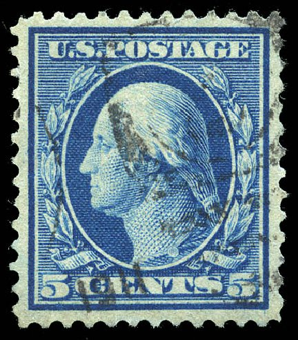 US Stamps Values Scott Catalogue #361: 5c 1909 Washington Bluish Paper. Matthew Bennett International, Feb 2015, Sale 351, Lot 170