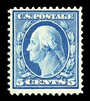Costs of US Stamps Scott Catalog # 361: 1909 5c Washington Bluish Paper. Cherrystone Auctions, Jul 2015, Sale 201507, Lot 2130