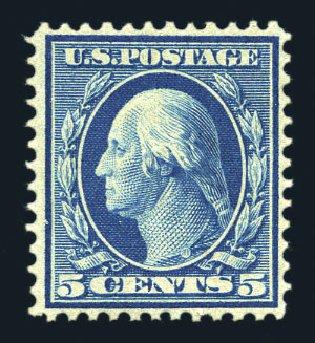 Cost Of US Stamps Scott Cat 361 1909 5c Washington Bluish Paper