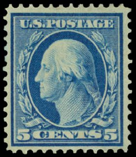 Costs of US Stamp Scott Catalog #361 - 5c 1909 Washington Bluish Paper. Daniel Kelleher Auctions, Sep 2014, Sale 655, Lot 435