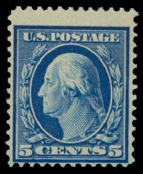 Values of US Stamp Scott Catalogue #361: 5c 1909 Washington Bluish Paper. Daniel Kelleher Auctions, Sep 2014, Sale 655, Lot 433