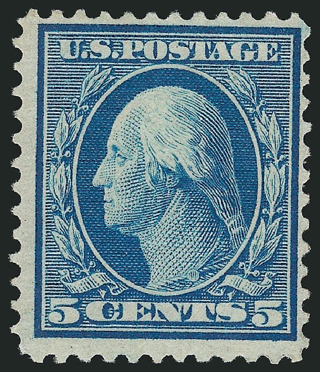US Stamp Value Scott Cat. # 361 - 1909 5c Washington Bluish Paper. Robert Siegel Auction Galleries, Dec 2014, Sale 1090, Lot 1473