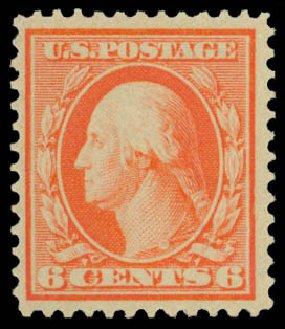 US Stamp Values Scott Cat. #362 - 6c 1909 Washington Bluish Paper. Daniel Kelleher Auctions, Dec 2014, Sale 661, Lot 309
