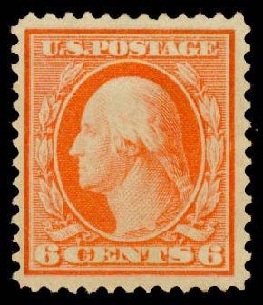 US Stamps Prices Scott #362: 6c 1909 Washington Bluish Paper. Daniel Kelleher Auctions, May 2015, Sale 669, Lot 2919