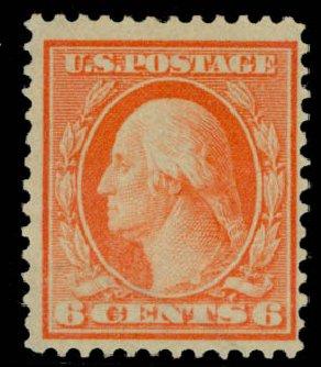Values of US Stamps Scott #362 - 1909 6c Washington Bluish Paper. Daniel Kelleher Auctions, Sep 2014, Sale 655, Lot 434