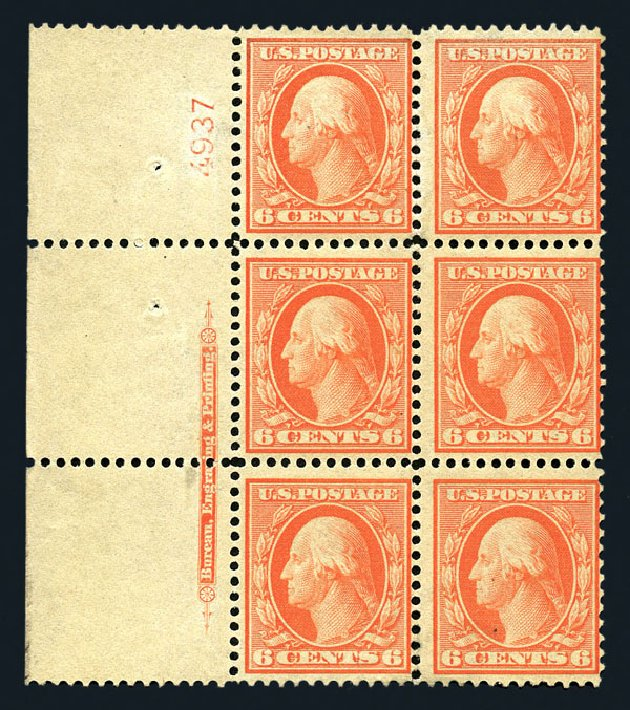 Values of US Stamp Scott Catalog #362: 6c 1909 Washington Bluish Paper. Harmer-Schau Auction Galleries, Aug 2015, Sale 106, Lot 1775