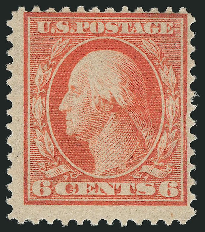 US Stamps Prices Scott Catalog 362: 6c 1909 Washington Bluish Paper. Robert Siegel Auction Galleries, Jul 2015, Sale 1107, Lot 433