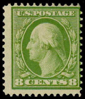 Price of US Stamp Scott Cat. # 363: 1909 8c Washington Bluish Paper. Daniel Kelleher Auctions, Sep 2013, Sale 639, Lot 3471