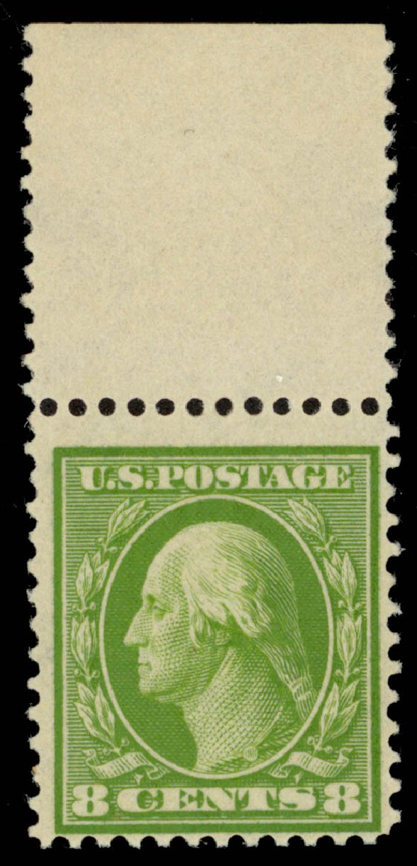 US Stamps Price Scott 363: 1909 8c Washington Bluish Paper. Daniel Kelleher Auctions, Dec 2013, Sale 640, Lot 331