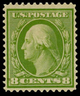 Price of US Stamp Scott Cat. # 363: 1909 8c Washington Bluish Paper. Daniel Kelleher Auctions, Sep 2014, Sale 655, Lot 436