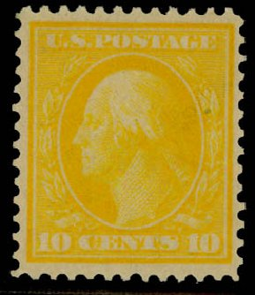 Values of US Stamp Scott Catalogue 364: 10c 1909 Washington Bluish Paper. Daniel Kelleher Auctions, Sep 2014, Sale 655, Lot 437
