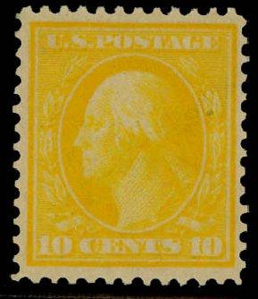 Values of US Stamp Scott Catalogue 364: 10c 1909 Washington Bluish Paper. Daniel Kelleher Auctions, Sep 2014, Sale 655, Lot 437