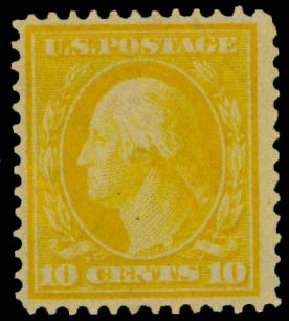 Cost of US Stamp Scott Cat. # 364 - 1909 10c Washington Bluish Paper. Daniel Kelleher Auctions, Jan 2015, Sale 663, Lot 1707
