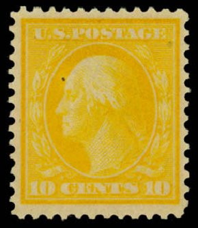 US Stamps Prices Scott Catalog #364 - 10c 1909 Washington Bluish Paper. Daniel Kelleher Auctions, Dec 2014, Sale 661, Lot 310