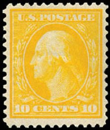 US Stamps Price Scott Catalogue 364: 10c 1909 Washington Bluish Paper. Schuyler J. Rumsey Philatelic Auctions, Apr 2015, Sale 60, Lot 2354
