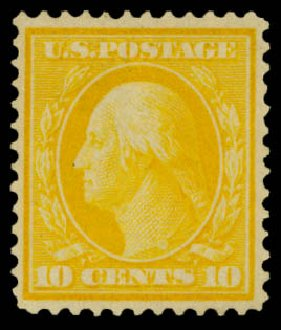 US Stamps Values Scott Catalogue #364: 1909 10c Washington Bluish Paper. Daniel Kelleher Auctions, Mar 2014, Sale 650, Lot 2625