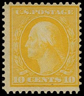 Value of US Stamps Scott #364: 10c 1909 Washington Bluish Paper. H.R. Harmer, Oct 2014, Sale 3006, Lot 1333