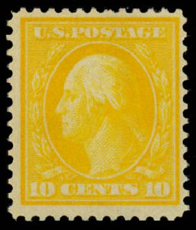 US Stamp Price Scott #364 - 10c 1909 Washington Bluish Paper. Daniel Kelleher Auctions, Dec 2013, Sale 640, Lot 336