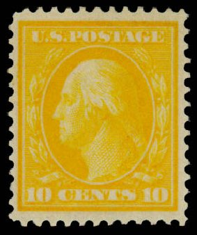 US Stamps Value Scott Cat. 364 - 10c 1909 Washington Bluish Paper. Daniel Kelleher Auctions, Mar 2014, Sale 648, Lot 2146