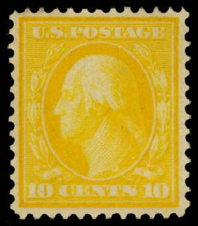 US Stamps Values Scott Catalogue #364: 10c 1909 Washington Bluish Paper. Daniel Kelleher Auctions, Jan 2015, Sale 663, Lot 1706