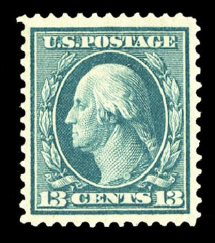 Value of US Stamp Scott #365 - 13c 1909 Washington Bluish Paper. Cherrystone Auctions, Jul 2015, Sale 201507, Lot 2134