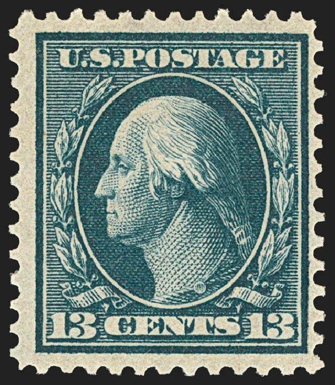 US Stamps Prices Scott Catalog 365 - 13c 1909 Washington Bluish Paper. Robert Siegel Auction Galleries, Jul 2015, Sale 1107, Lot 434