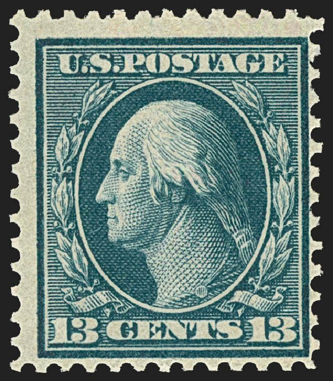 Cost of US Stamps Scott Cat. #365 - 1909 13c Washington Bluish Paper. Robert Siegel Auction Galleries, Jul 2015, Sale 1107, Lot 435