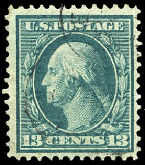 US Stamp Value Scott Catalogue # 365: 1909 13c Washington Bluish Paper. Matthew Bennett International, Feb 2015, Sale 351, Lot 172