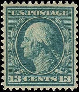 Cost of US Stamp Scott Catalogue 365: 1909 13c Washington Bluish Paper. Regency-Superior, Aug 2015, Sale 112, Lot 753