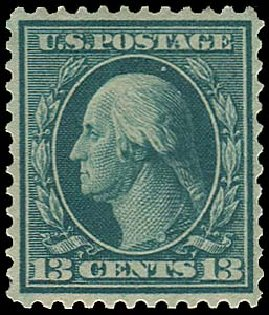 US Stamp Price Scott # 365: 13c 1909 Washington Bluish Paper. Regency-Superior, Jan 2015, Sale 109, Lot 1146