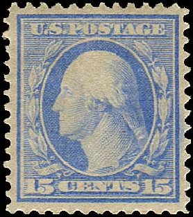 US Stamp Value Scott Catalogue # 366: 15c 1909 Washington Bluish Paper. Regency-Superior, Aug 2015, Sale 112, Lot 757