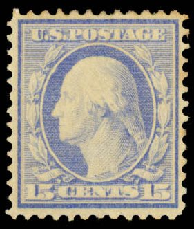 US Stamps Price Scott Catalogue # 366 - 15c 1909 Washington Bluish Paper. Daniel Kelleher Auctions, Aug 2015, Sale 672, Lot 2669
