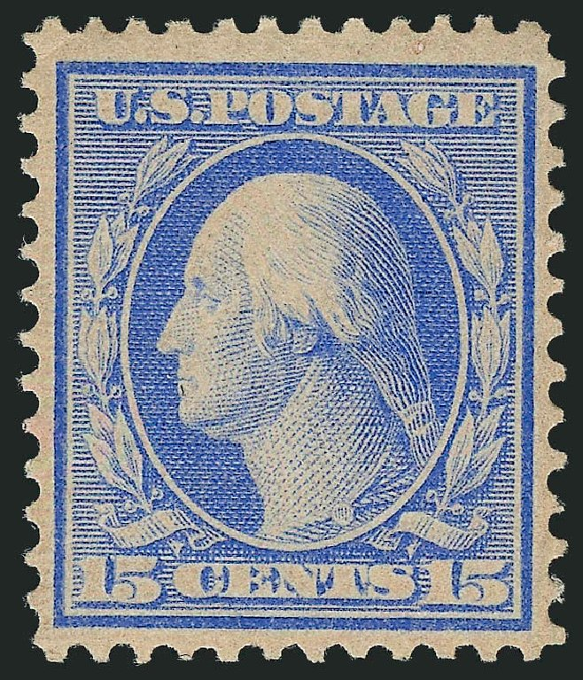 US Stamps Price Scott Cat. #366: 1909 15c Washington Bluish Paper. Robert Siegel Auction Galleries, Jul 2015, Sale 1107, Lot 439