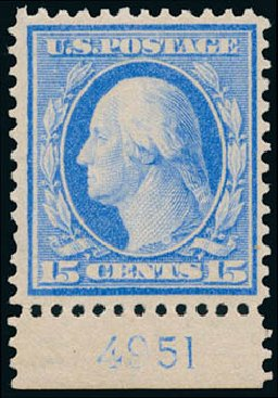 US Stamp Prices Scott Catalogue #366: 1909 15c Washington Bluish Paper. Schuyler J. Rumsey Philatelic Auctions, Apr 2015, Sale 60, Lot 2800