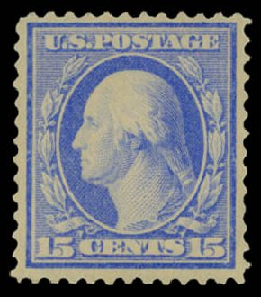 US Stamp Prices Scott Cat. #366: 1909 15c Washington Bluish Paper. Daniel Kelleher Auctions, May 2015, Sale 669, Lot 2921