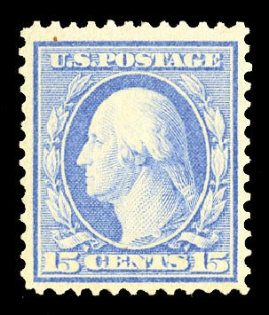 Prices of US Stamps Scott 366 - 15c 1909 Washington Bluish Paper. Cherrystone Auctions, Jul 2015, Sale 201507, Lot 2135