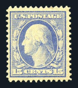 US Stamps Value Scott Catalogue # 366: 1909 15c Washington Bluish Paper. Harmer-Schau Auction Galleries, Aug 2015, Sale 106, Lot 1776