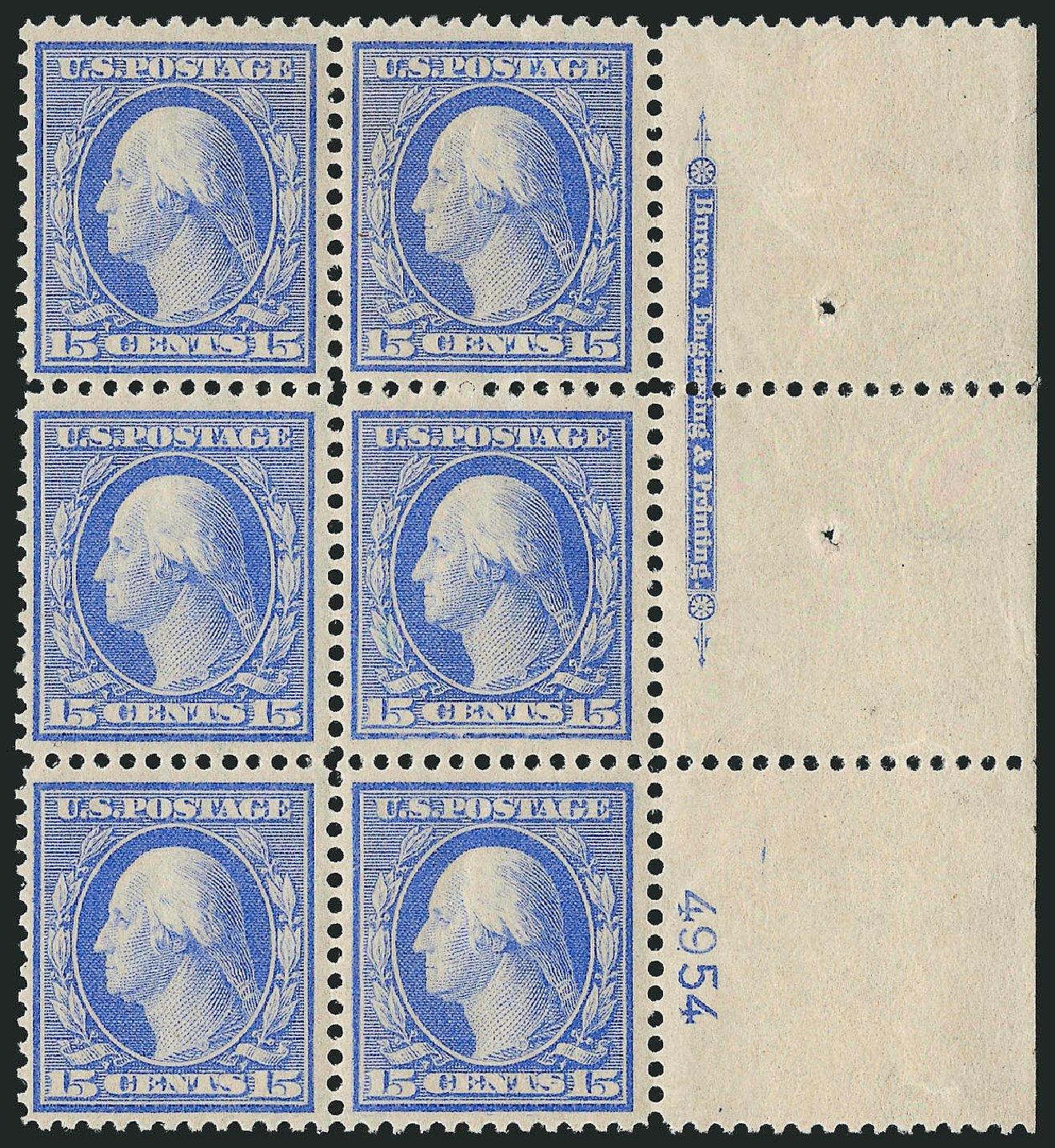 Price of US Stamp Scott Catalog #366: 15c 1909 Washington Bluish Paper. Robert Siegel Auction Galleries, Apr 2015, Sale 1096, Lot 616